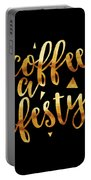 Text Art Coffee Is A Lifestyle - Golden And Black Portable Battery Charger