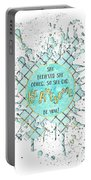 Text Art She Believed - Cyan White - Splashes Portable Battery Charger