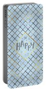 Text Art So Happy - Blue Portable Battery Charger