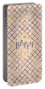 Text Art So Happy - Orange Portable Battery Charger