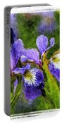 Textured Bearded Irises Portable Battery Charger
