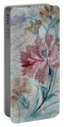 Textured Florals No.1 Portable Battery Charger by Writermore Arts