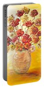 Textured Flowers In A Vase Portable Battery Charger