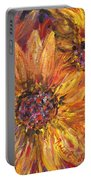 Textured Gold And Red Sunflowers Portable Battery Charger