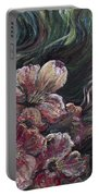 Textured Pink Petals Portable Battery Charger
