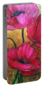 Textured Poppies Portable Battery Charger