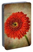 Textured Red Daisy Portable Battery Charger