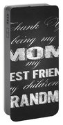 Thank You Mom Chalkboard Typography Portable Battery Charger