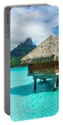 Thatched Roof Honeymoon Bungalow On Bora Bora Portable Battery Charger