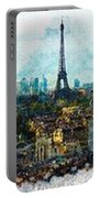 The Aesthetic Beauty Of Paris Tranquil Landscape Portable Battery Charger