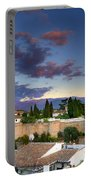 The Alhambra Palace And Albaicin At Sunset Portable Battery Charger