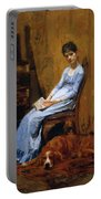The Artist Wife And His Setter Dog 1889 Portable Battery Charger