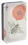 The Bee And Red Poppies  Portable Battery Charger