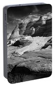 The Bisti Badlands - New Mexico - Black And White Portable Battery Charger