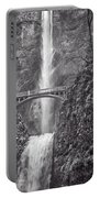 The Bridge At Multnomah Falls In Black And White Portable Battery Charger