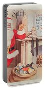 The Christmas Spirit Vintage Card Santa Next To Fireplace Portable Battery Charger
