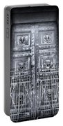 The Door At The Parthenon In Nashville Tennessee Black And White Portable Battery Charger