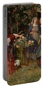 The Enchanted Garden Portable Battery Charger by John William Waterhouse