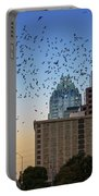 The Frost Bank Tower Stands Guard As 1.5 Million Mexican Free-tail Bats Overtake The Austin Skyline As They Exit The Congress Avenue Bridge Portable Battery Charger