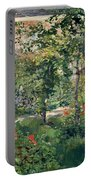 The Garden At Bellevue Portable Battery Charger by Edouard Manet