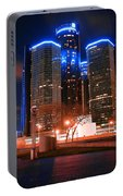 The Gm Renaissance Center At Night From Hart Plaza Detroit Michigan Portable Battery Charger