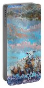 The Golden Flock - Colorful Sheep Art Portable Battery Charger