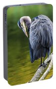 The Great Blue Heron Perched On A Tree Branch Preening Portable Battery Charger