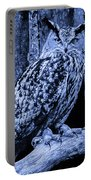 Majestic Great Horned Owl Blue Indigo Portable Battery Charger
