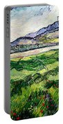The Green Wheatfield Behind The Asylum Portable Battery Charger by Vincent van Gogh