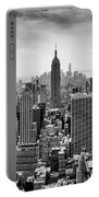 New York City Skyline Bw Portable Battery Charger