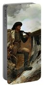 The Hunter And His Dogs Portable Battery Charger by Winslow Homer
