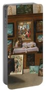 The Interior Of A Picture Gallery With Connoisseurs Admiring Paintings Portable Battery Charger