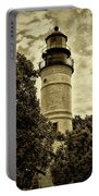 The Key West Lighthouse In Sepia Portable Battery Charger