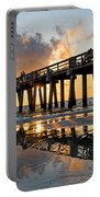 Naples Pier At Sunset Naples Florida Ripples Portable Battery Charger