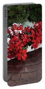 The Path To Christmas - Poinsettias, Trees, Snow, And Walkway Portable Battery Charger