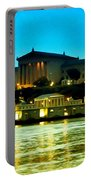 The Philadelphia Art Museum And Waterworks At Night Portable Battery Charger