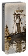 The Port Of Honfleur Portable Battery Charger by Claude Monet