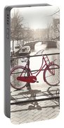 The Red Bicycle Of Amsterdam Portable Battery Charger