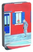 The Red House On The Island Of Burano Portable Battery Charger