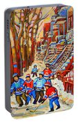 The Red Staircase Painting By Montreal Streetscene Artist Carole Spandau Portable Battery Charger