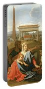 The Rest On The Flight Into Egypt Portable Battery Charger by Nicolas Poussin