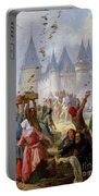 The Return Of Saint Louis Blanche Of Castille To Notre Dame Paris Portable Battery Charger