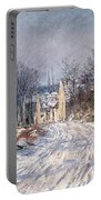 The Road To Giverny In Winter Portable Battery Charger by Claude Monet