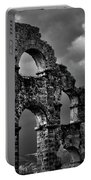 The Roman Aqueduct At Aspendos, Turkey.    Black And White Portable Battery Charger