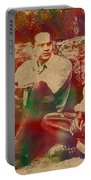 The Shawshank Redemption Movie Inspired Watercolor Portrait Of Tim Robbins And Morgan Freeman On Worn Distressed Canvas Portable Battery Charger