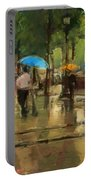 The Streets Of Paris In The Rain Portable Battery Charger