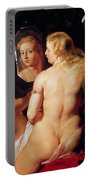 The Toilet Of Venus Portable Battery Charger by Peter Paul Rubens