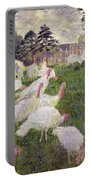 The Turkeys At The Chateau De Rottembourg Portable Battery Charger by Claude Monet