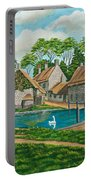 The Village Pond In Wroxton Portable Battery Charger