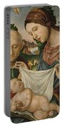 The Virgin And Saint Joseph  Adoring The Christ Child Portable Battery Charger